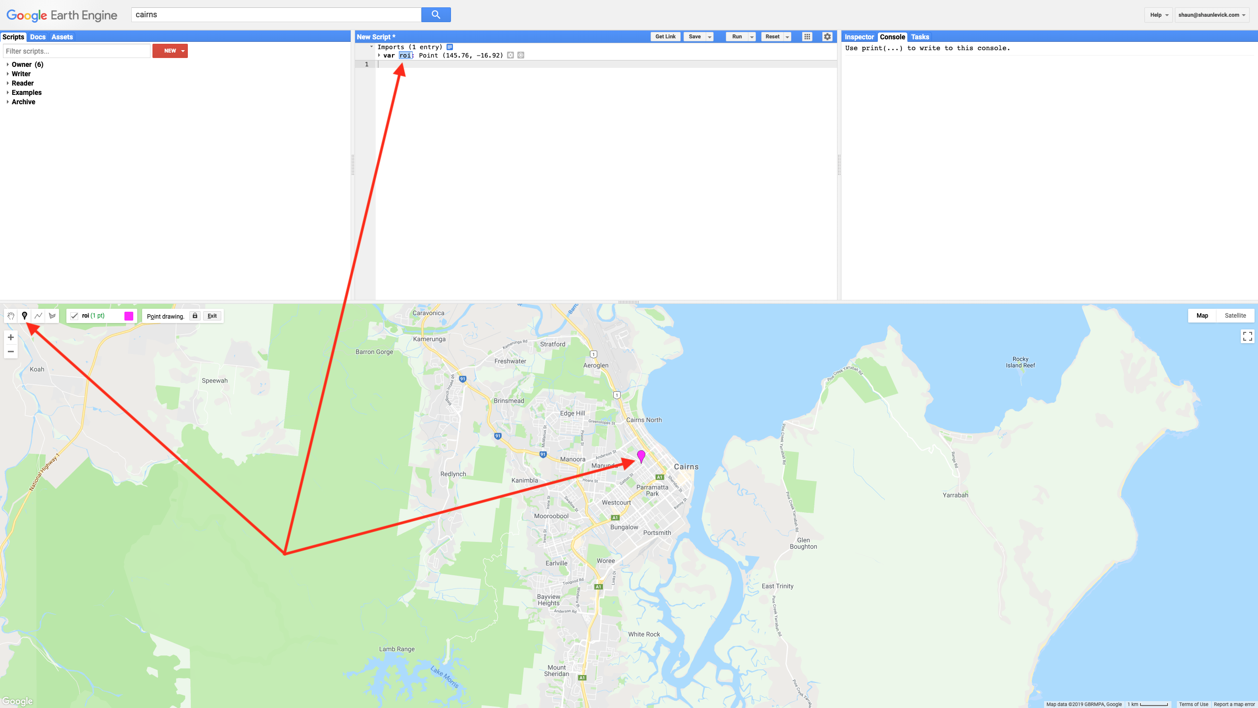 Figure 1. Navigating to Cairns